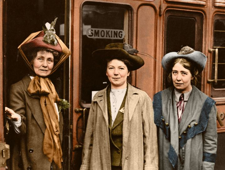 Emmeline and her daughters Christabel and Sylvia, at Waterloo Station on October 4 1911.